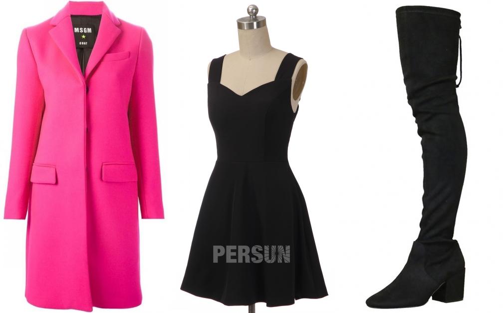 petite robe noire simple classique avec accessorie