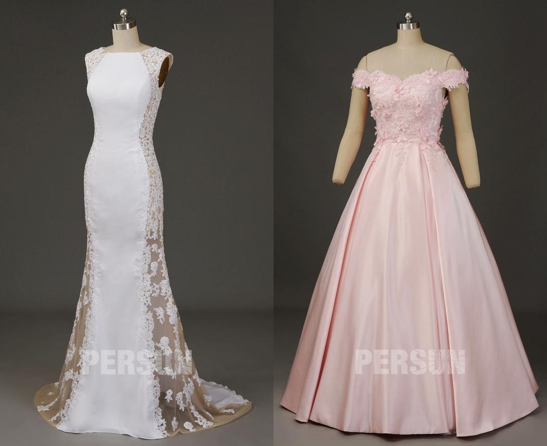 robe de mariée en dentelle appliquée florale