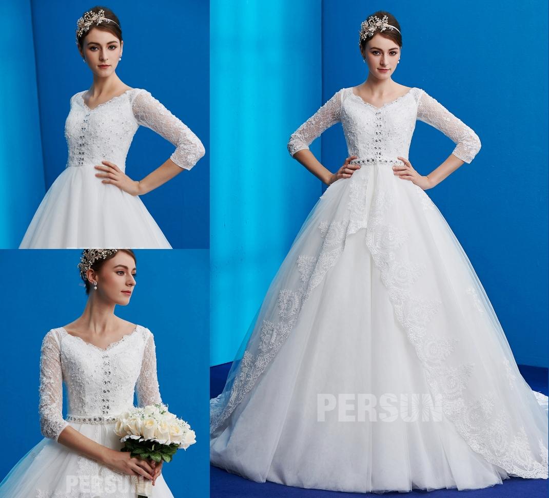 robe de mariée princesse en dentelle appliquée à manche mi-longue embelli de strass
