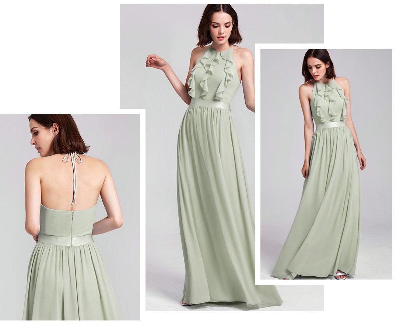 robe demoiselle d'honneur chic longue vert eau col halter bustier à volant