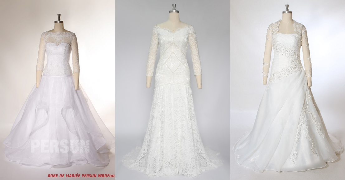robe de mariée élégante à manche longue en dentelle