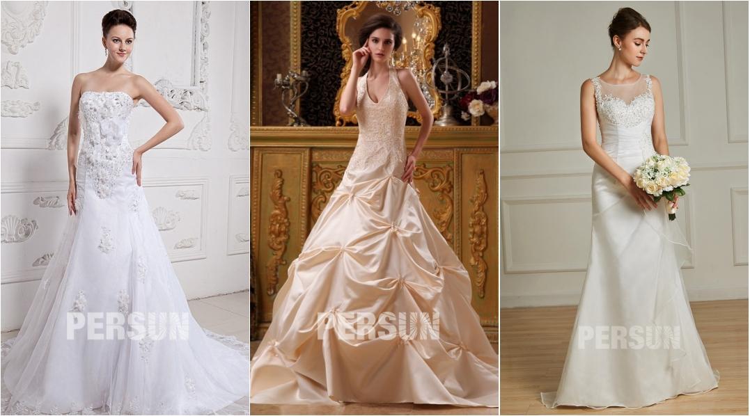 robe de mariée trompette moderne appliquée de dentelle