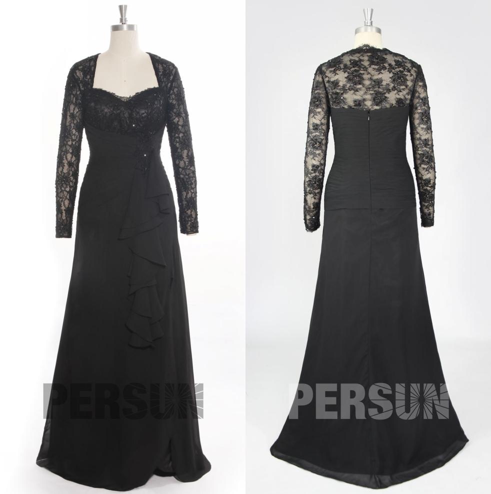 robe de soirée longue noire en dentelle manche longue pour enterrement