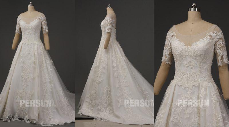 robe de mariée vintage princesse manche courte col arrondie illusion en dentelle appliquée exquis