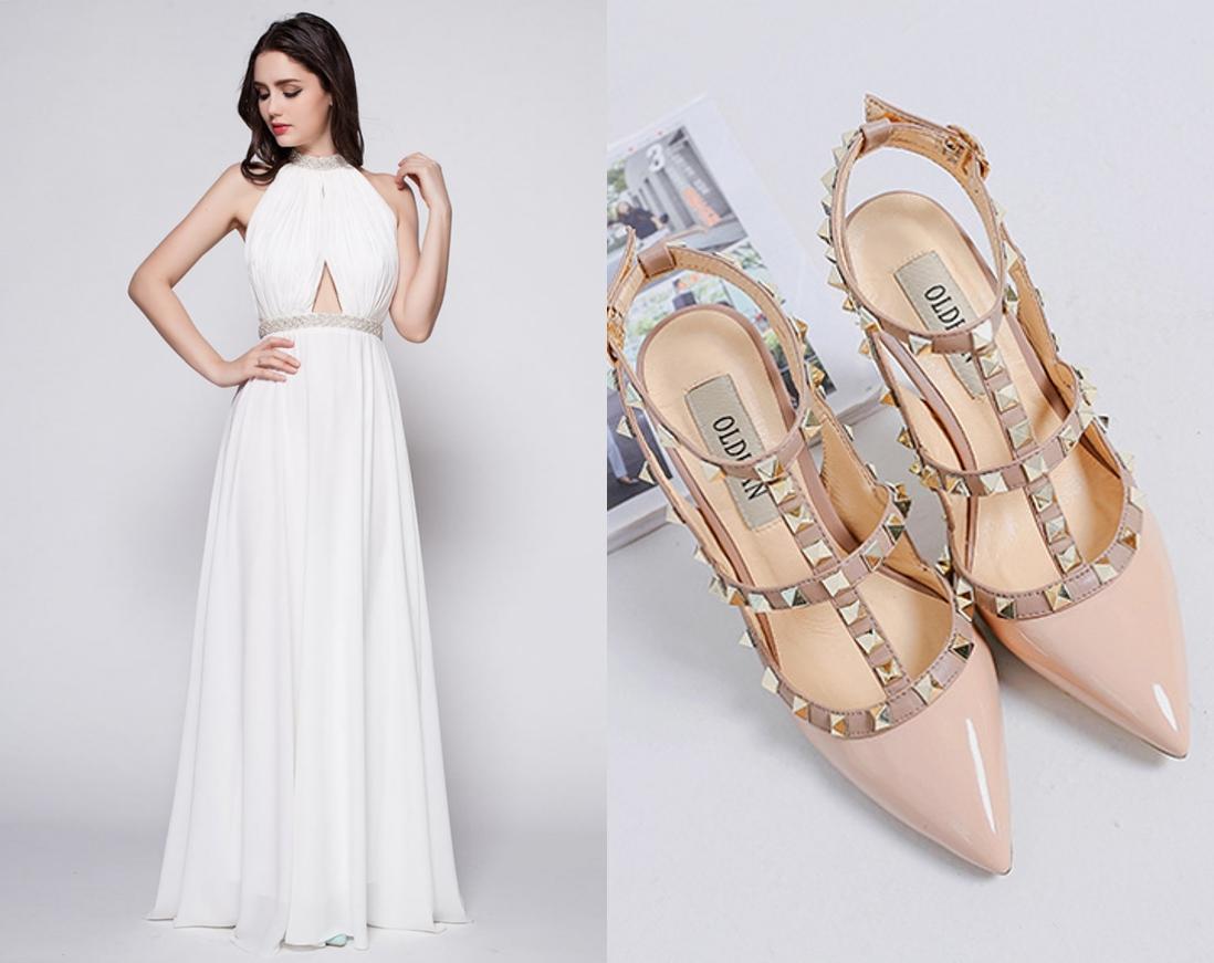 chaussure pour mariage nude ornée de clous