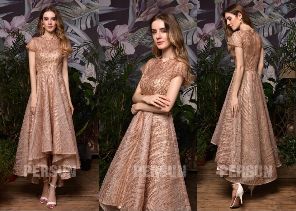 robe de fiançailles rose dorée courte devant longue derrière avec manche courte pailleté