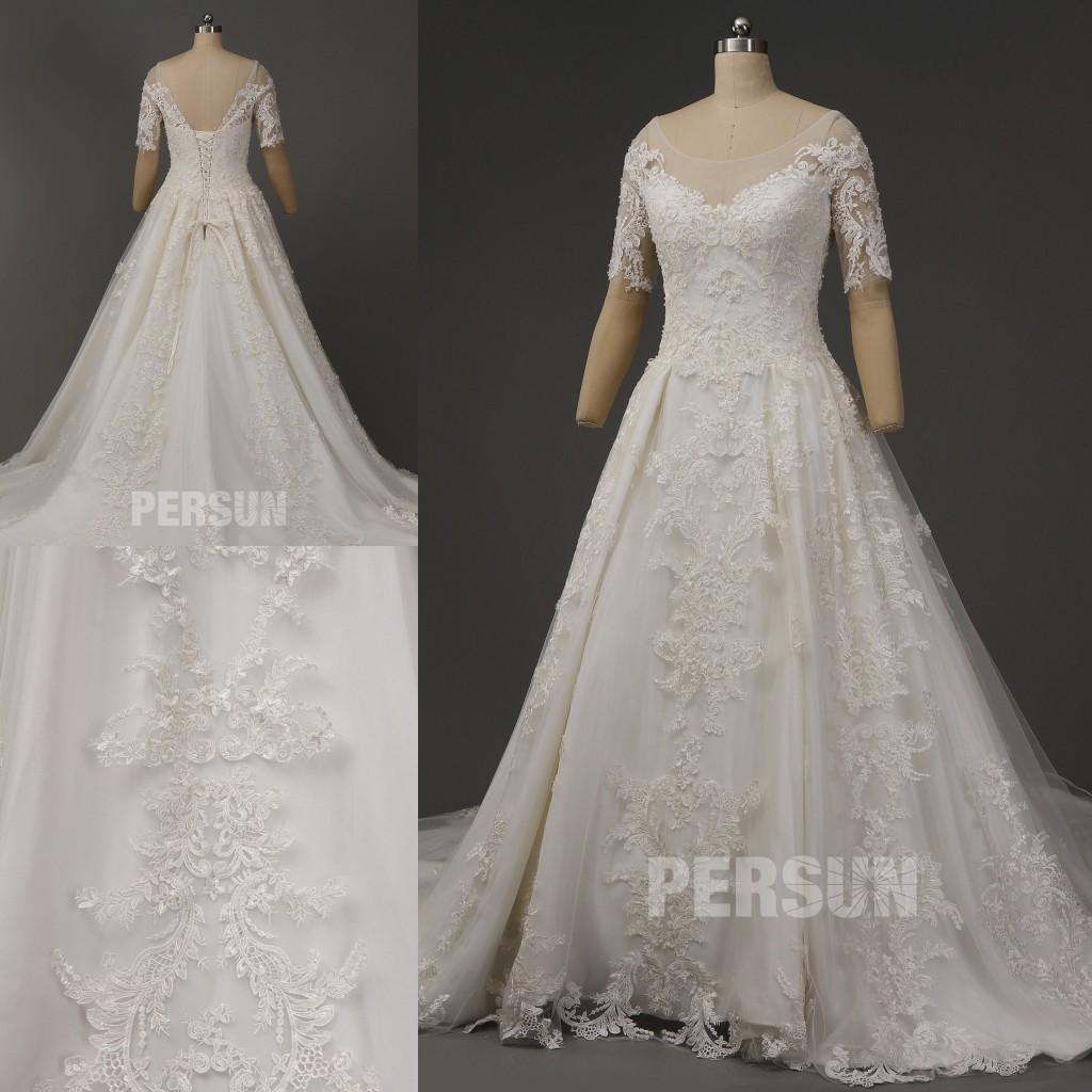 robe de mariée princesse royale en dentelle appliquée avec manche courte