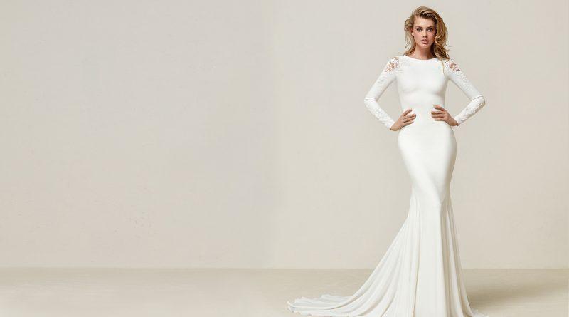robe de mariée sirène simple haut embelli dentelle manche longue