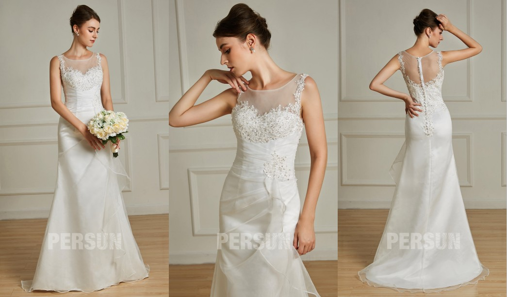 robe mariage trompette col et dos illusion en dentelle appliquée