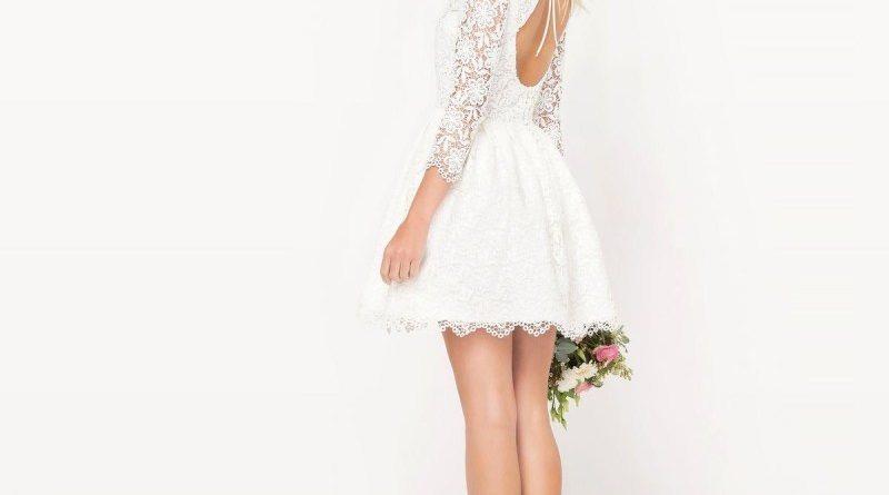 robe de mariée courte haut en dentelle à manche dos découpé