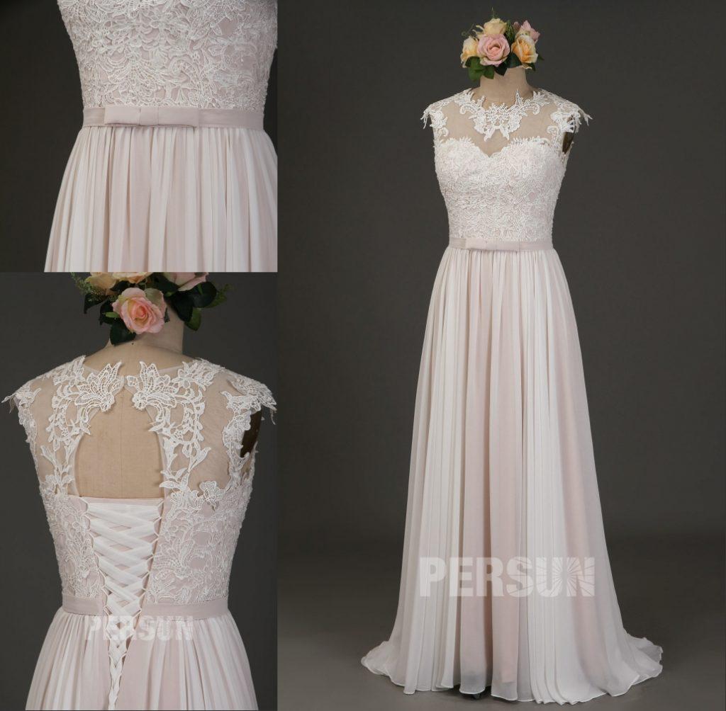 robe de mariée bicolore col illusion haut en dentelle appliquée dos découpé