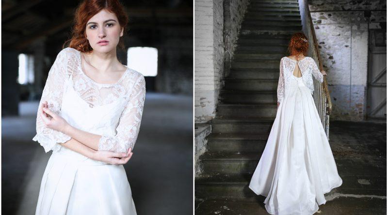 robe de mariée chic boho bi-matière en dentelle et en satin