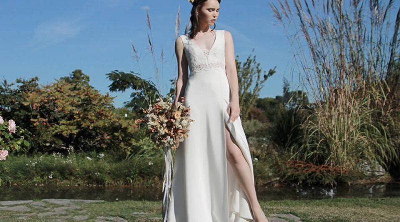 robe de mariée fendue appliquée de dentelle