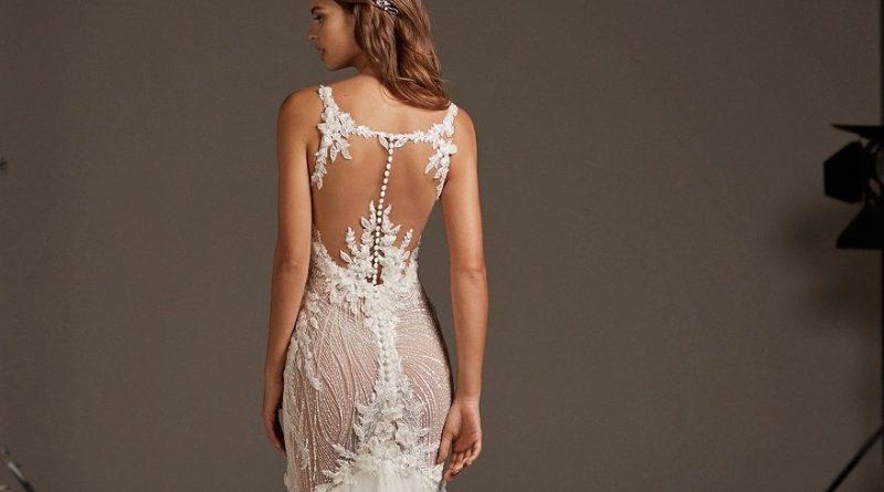 robe de mariée sexy et chic sirène dos illusion appliquée