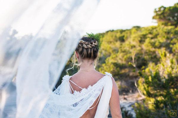 voile chic appliquée de dentelle pour mariée