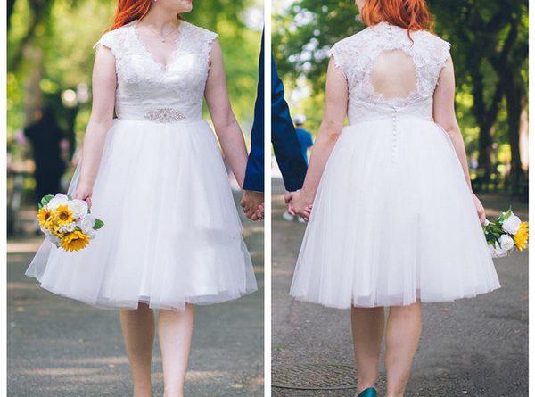 robe de mariée grande taille courte en dentelle à dos découpé