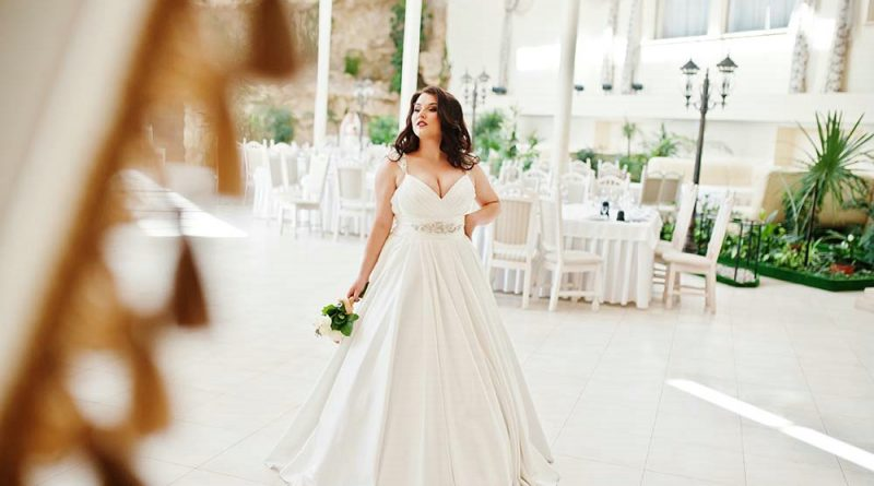 robe de mariée grande taille col v taille ornée de bijoux