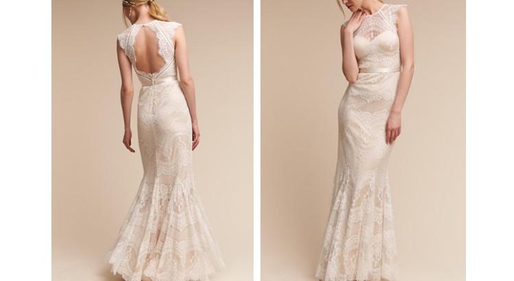 robe de mariée sirène champagne en dentelle dos ouvert