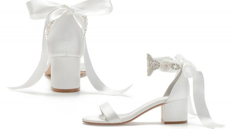 sandale de mariée blanc bride pailleté