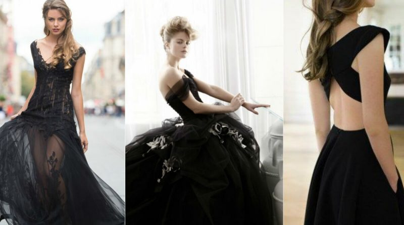 robe de mariée noire moderne